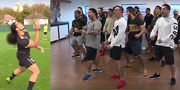 New Zealand Perform The Haka For Liverpool At Melwood