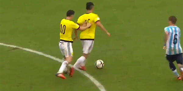 James Rodriguez Wins Free Kick By Pushing His Own Player