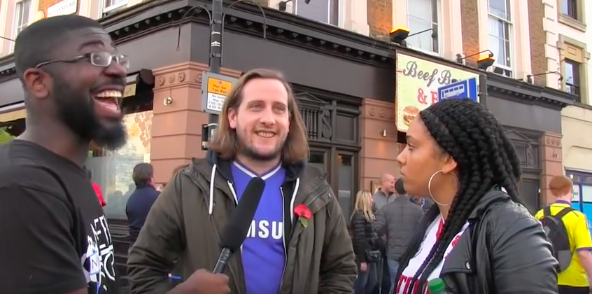 WATCH: Liverpool Fan Lays Into A Chelsea Fan While Getting Interviewed
