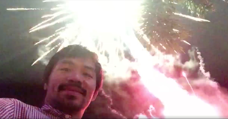 Manny Pacquiao Puts On Spectacular New Years Eve Firework Display