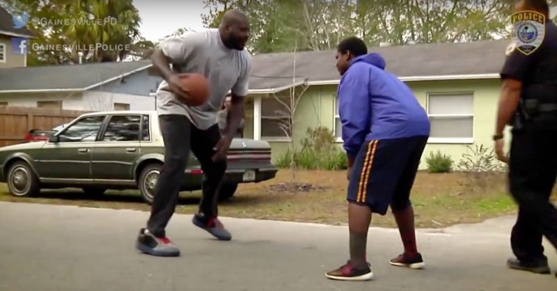 VIDEO: Shaq Teams Up With Cop To Play Kids In Street Basketball Game