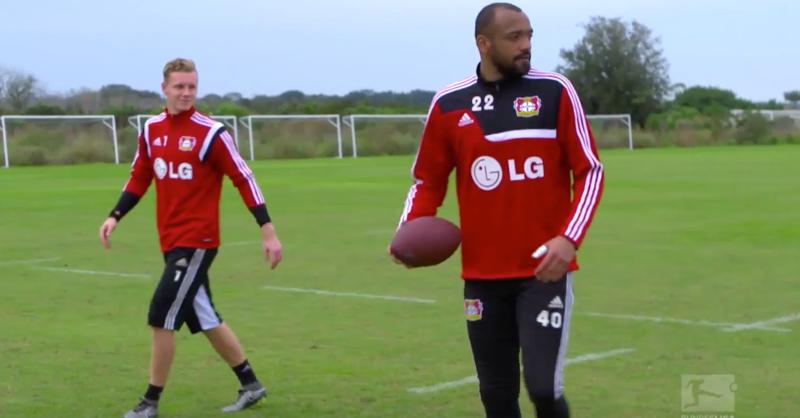 Leverkusen Goalkeepers Attempt American Football Crossbar Challenge