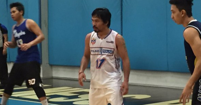 Manny Pacquiao Plays Basketball Against Very Questionable Defence