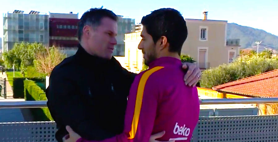 VIDEO: Jamie Carragher Drops In On Barcelona Training