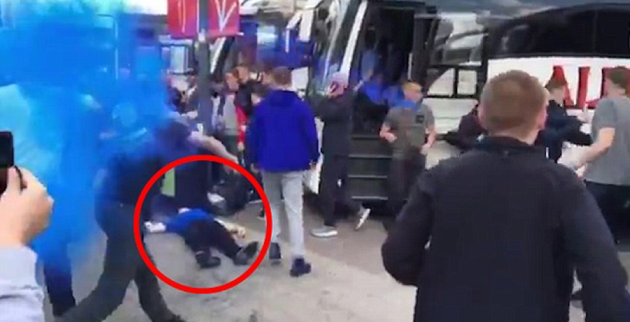 Manchester United And Everton Fans Brawl Before FA Cup Semi-Final