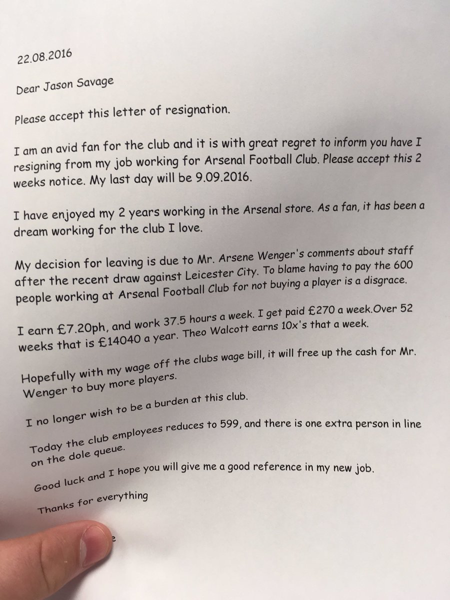 pic arsenal fan resigns from job in club shop spectacular arsenal employee arsenalemployee 22 2016