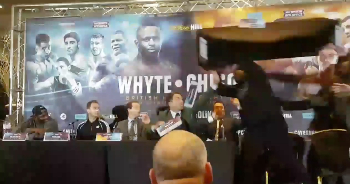 WATCH: Dereck Chisora Throws A Table At Dillian Whyte