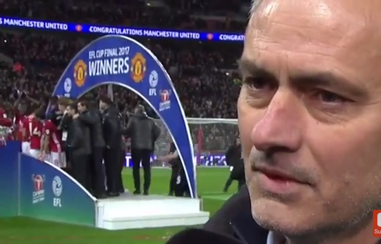 WATCH: Jose Mourinho looks sickened to have won the EFL Cup Final…