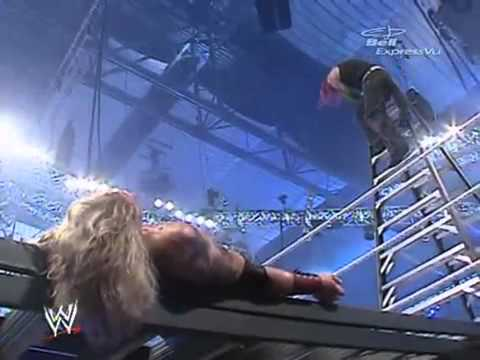 WATCH: Throwback to when Jeff Hardy Leg Droped Edge Through A Ladder From 30 Feet At Wrestlemania 23