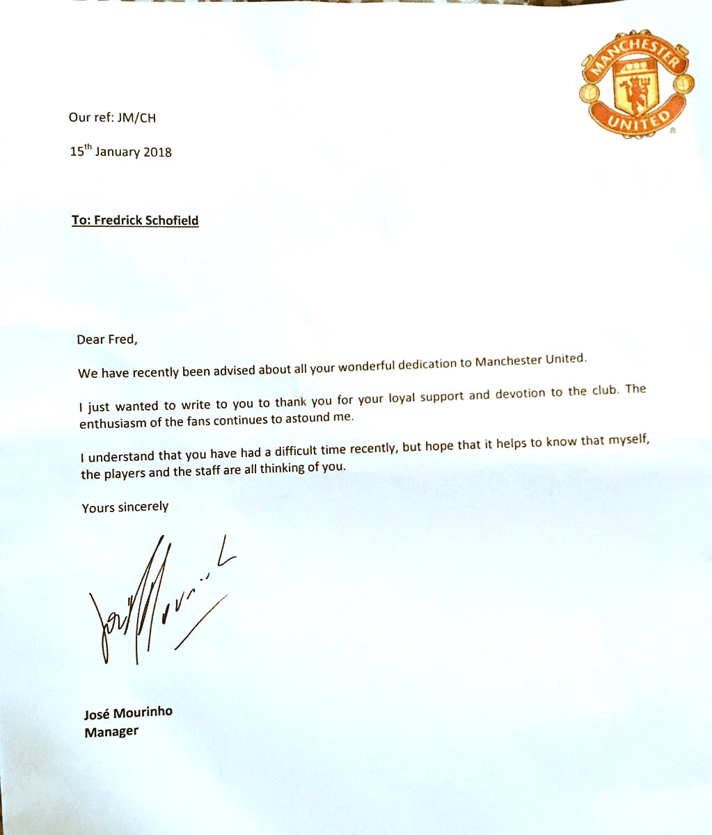 José Mourinho Sends Touching Letter To 94 Year Old
