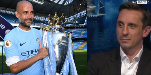 WATCH: Pep Guardiola presents Gary Neville with a Manchester City 'champions' shirt on MNF