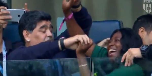 WATCH: Diego Maradona dances with random fan ahead of Nigeria clash