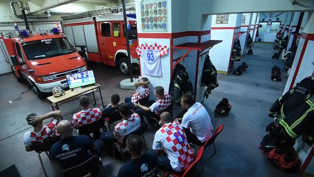 WATCH: Remarkable video of Croatian Firefighters rushing off during penalty shoot-out emerges online