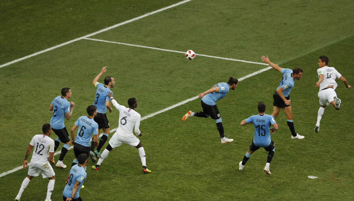 WATCH: Varane header and Lloris wonder-save highlights of first-half between France and Uruguay