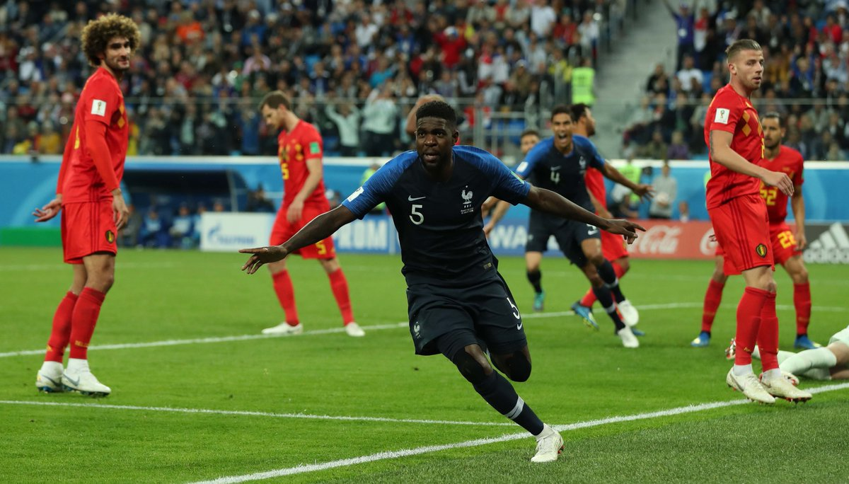 WATCH: Samuel Umtiti heads France into the lead against Belgium