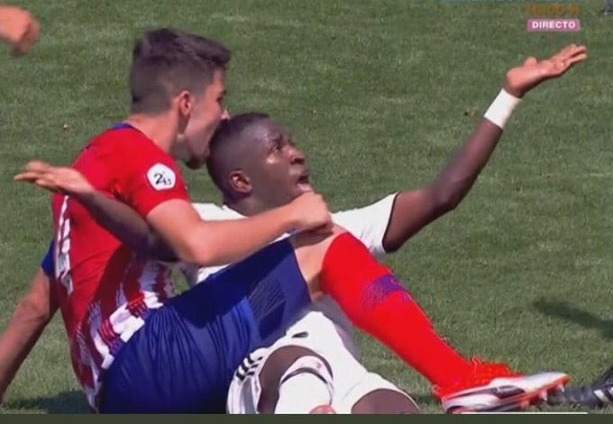 WATCH: Vinicius Jr. gets bitten on the head during reserve Madrid derby