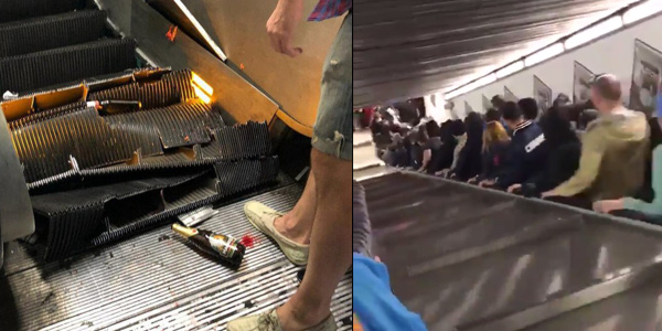 WATCH: Shocking footage of malfunctioning escalator in Rome ahead of UCL game