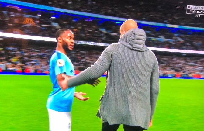 VIDEO: Pep Guardiola and Raheem Sterling clash after the Manchester derby. This doesn't look good! 😱