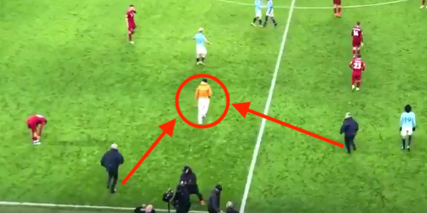 WATCH: Stewards try to take out Benjamin Mendy after he runs onto pitch at full-time