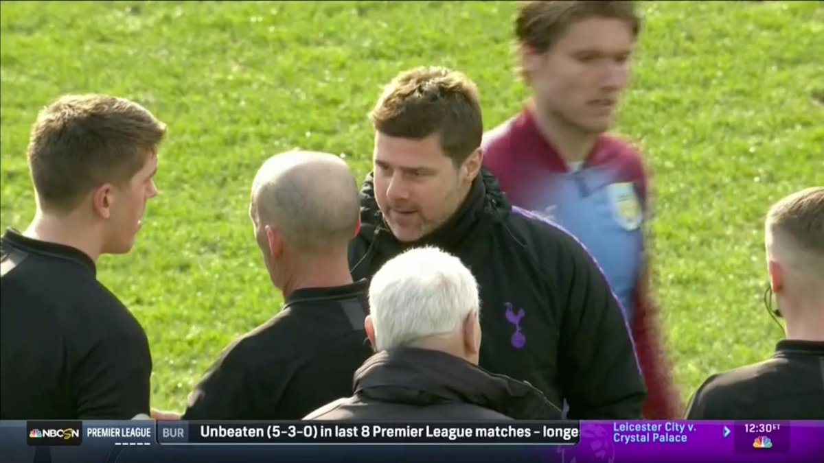 WATCH: Pochettino gives Mike Dean savage death stare during heated exchange at full-time