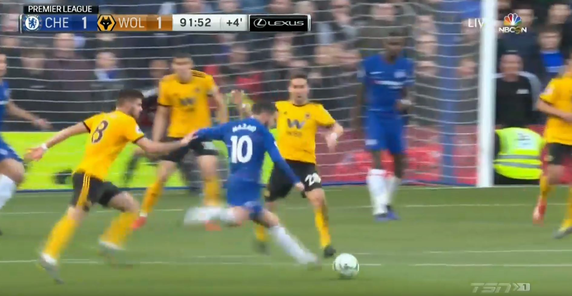 WATCH: Hazard Scores Injury Time Curler From Outside The Box
