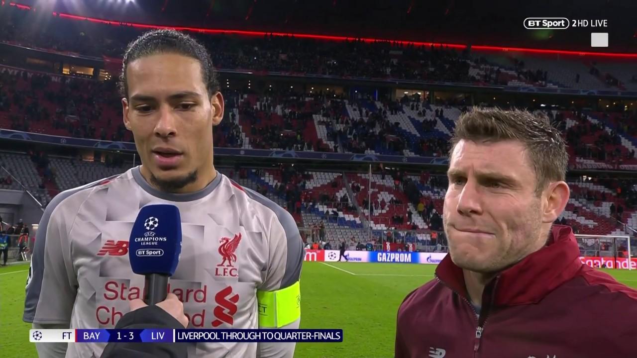 """We totally deserved to go through"" Virgil van Dijk & James Milner react to Bayern 1-3 Liverpool"