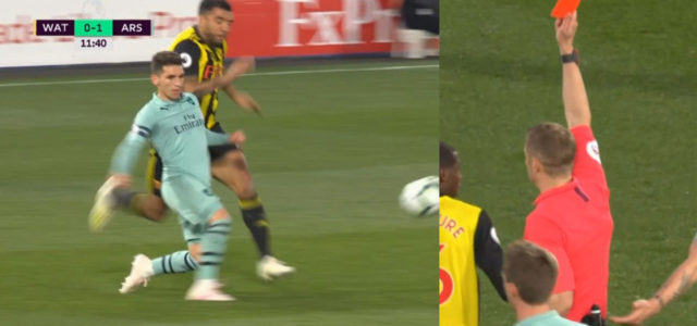 WATCH: Troy Deeney Gets Bizarre Red Card After Challenge With Torreira