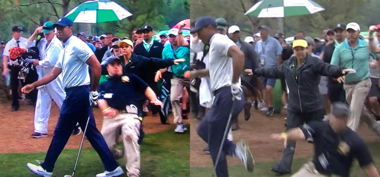 VIDEO: Security Guard 'Wipes' Out Tiger at #TheMasters⛳️