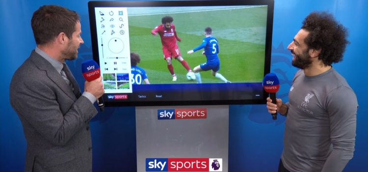 Mo Salah reacts to becoming joint top goalscorer in the Premier League after his screamer vs Chelsea