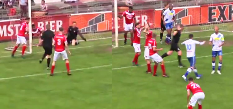 WATCH: Referee slots one home from 5 yards and allows goal to stand