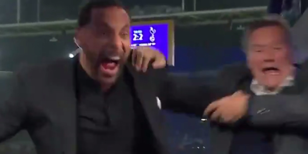 WATCH: Rio Ferdinand nearly throws Glenn Hoddle out of studio during celebration