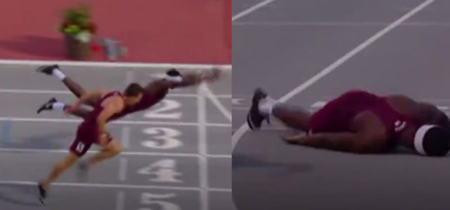 WATCH: College athlete does spectacular superman dive to win 400m hurdle
