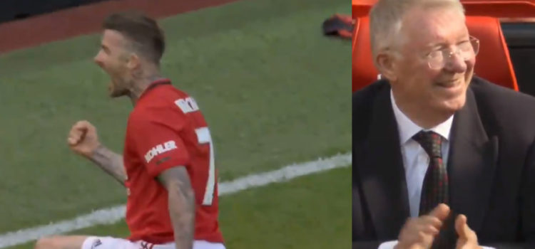 WATCH: David Beckham Scores Stunning Goal And Puts A Huge Smile On Sir Alex's Face With Iconic Celebration