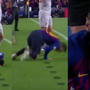 WATCH: Messi Caught Smiling At The Camera After Rolling Around Trying To get Milner Booked
