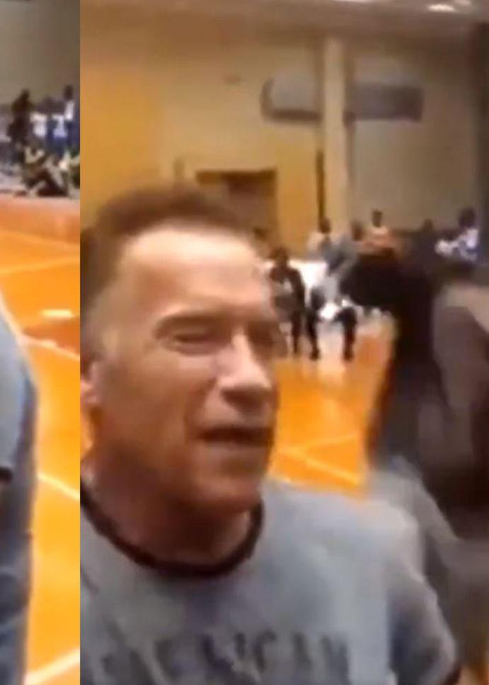WATCH: Arnold Schwarzenegger Drop Kicked In The Back By 'Fan' In South Africa