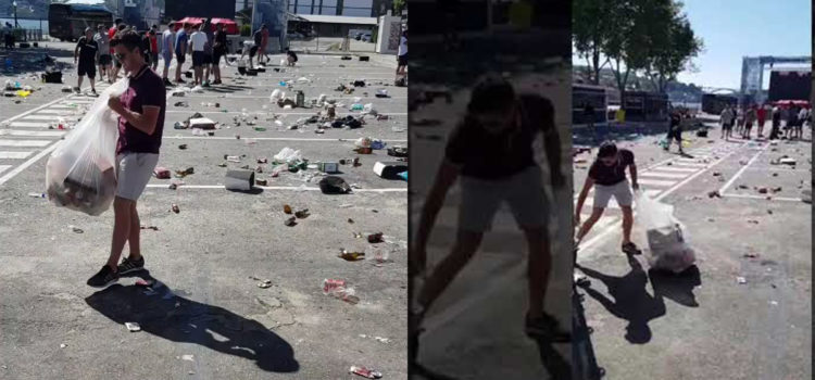 VIDEO: England fans helping clean up the rubbish in Porto today 👏👏👏