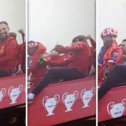 VIDEO: HILARIOUS moment 'p***** up' Liverpool boss Jurgen Klopp almost FELL off parade bus