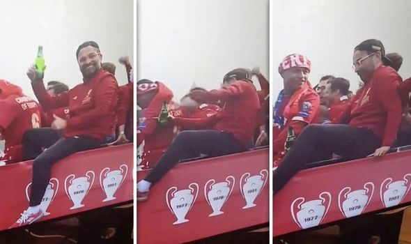 VIDEO: HILARIOUS moment 'p***** up' Liverpool boss Jurgen Klopp almost FELL off parade bus