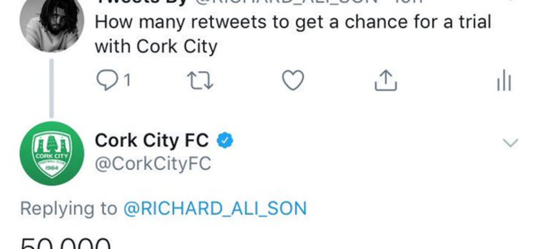 Cork City FC Arranging Trial For Nigerian Youngster Who Got 50k Retweets
