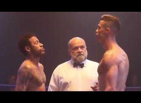 Cristiano Ronaldo vs. Neymar in the boxing ring. 🥊