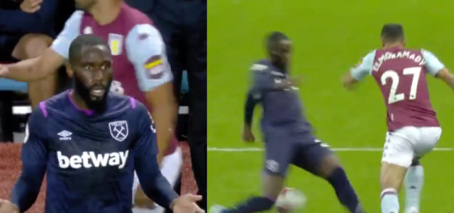 WATCH: People divided by Arthur Masuaku's second yellow card against Aston Villa