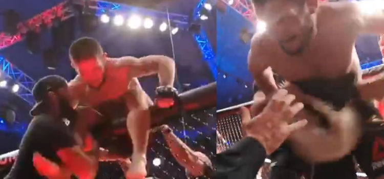 WATCH: Security Goes Crazy After Khabib Jumps Out Of Octagon At Dana White