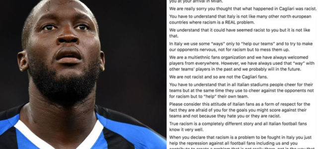 Inter Milan Ultras Have Defended Racist Cagliari Fans In A Letter To Lukaku