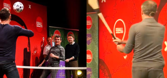 WATCH: Roy Keane and Gary Neville battle it out in epic hurling, cricket & foot tennis showdown