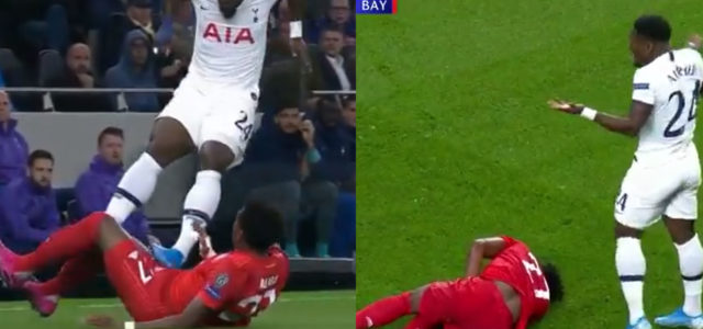 WATCH: Aurier Gets Away With horrific 2 Footed Stamp On Alaba