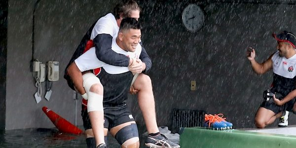 WATCH: Japan players wade through flooding for captain's run