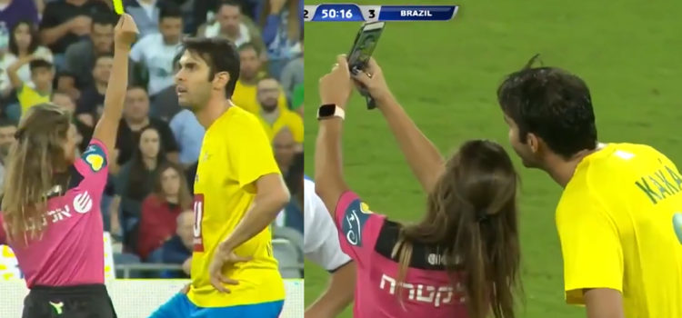 WATCH: Referee stops game and books Kaká so she could take selfie with him