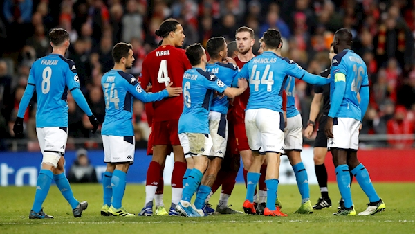 Five Napoli fans arrested before Liverpool match after skirmishes outside Anfield