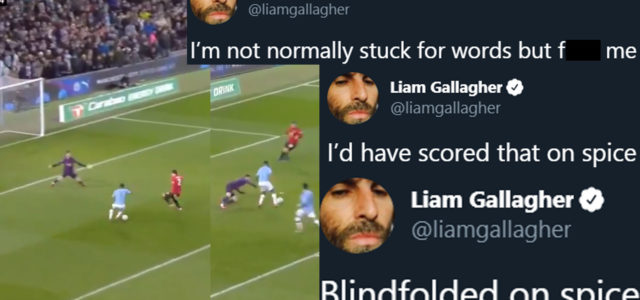 WATCH: Sterling Gets Trolled By Liam Gallagher For Absolutely Brutal Miss
