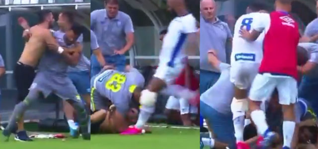 WATCH: Brazilian Footballer Kicks Tackled Pitch Invader In The Head